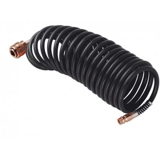 Wąż pneumatyczny 5m,6x8,10b, czarny PVC SPIRALNY